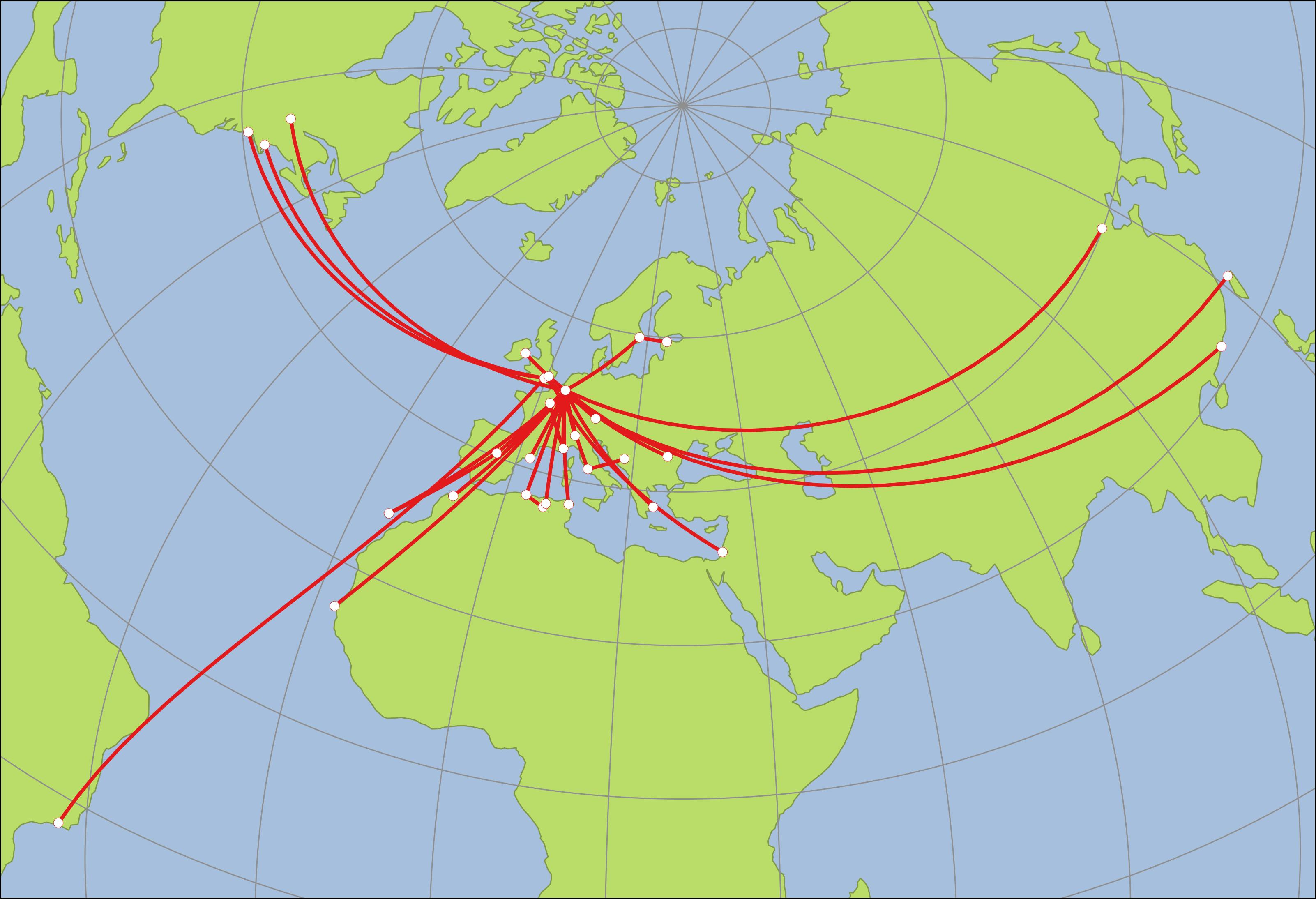 Carte voyages en avion d'un chercheur